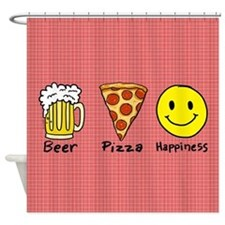 Beer Pizza Happiness Shower Curtain
