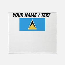 Custom Saint Lucia Flag Throw Blanket
