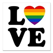 "Gay Love Square Car Magnet 3"" x 3"""