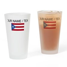 Custom Puerto Rico Flag Drinking Glass