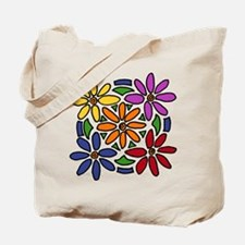 Colorful Daisy Floral Art Tote Bag