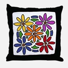 Colorful Daisy Floral Art Throw Pillow