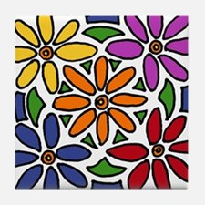 Colorful Daisy Floral Art Tile Coaster