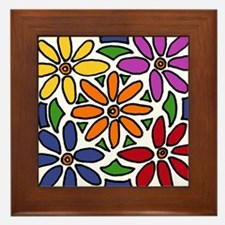 Colorful Daisy Floral Art Framed Tile