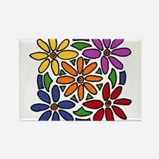 Colorful Daisy Floral Art Rectangle Magnet