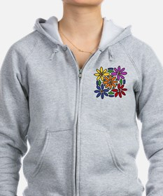 Colorful Daisy Floral Art Zip Hoodie