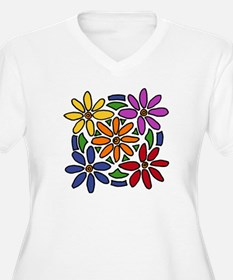 Colorful Daisy Floral Art Plus Size T-Shirt