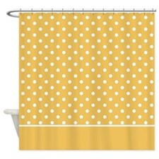 Golden with White Dots 2 Shower Curtain