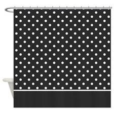 Soft Black with White Dots 2 Shower Curtain