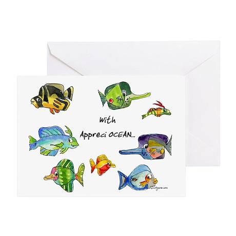8 Cartoon Fish Greeting Card