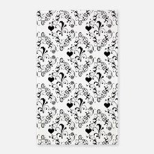 Black & White Damask #21a 3'x5' Area Rug