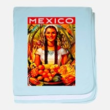 Vintage Mexico Fruit Travel baby blanket