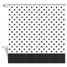 White with Soft Black Dots 2 Shower Curtain