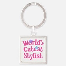 Worlds Cutest Stylist Square Keychain