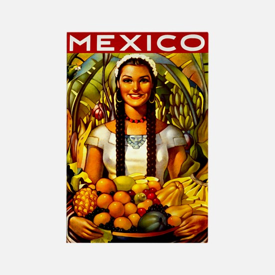 Vintage Mexico Fruit Travel Rectangle Magnet
