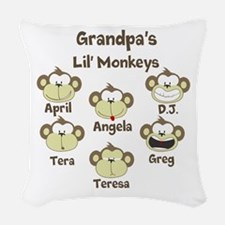 Custom kids monkeys Woven Throw Pillow