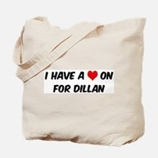 Heart on for Dillan Tote Bag