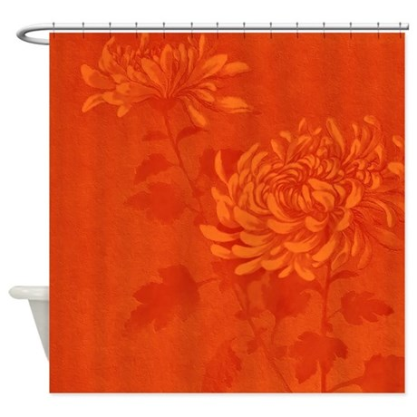 Orange Floral D1 Shower Curtain By MarloDeeDesignsShowerCurtains