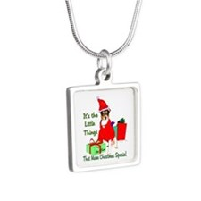Rat Terrier Christmas Silver Square Necklace