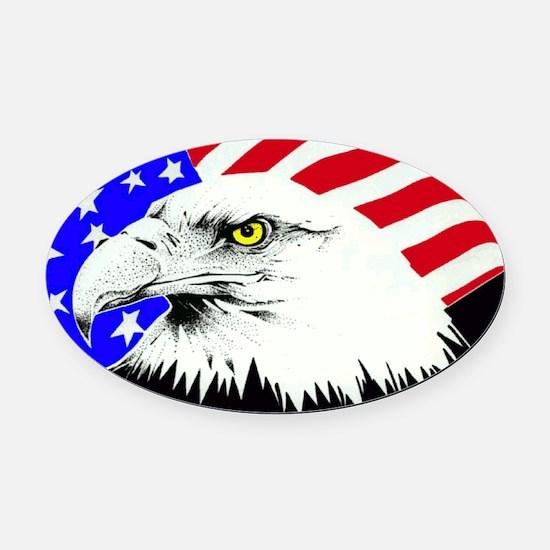 4th of july eagle_flag Oval Car Magnet