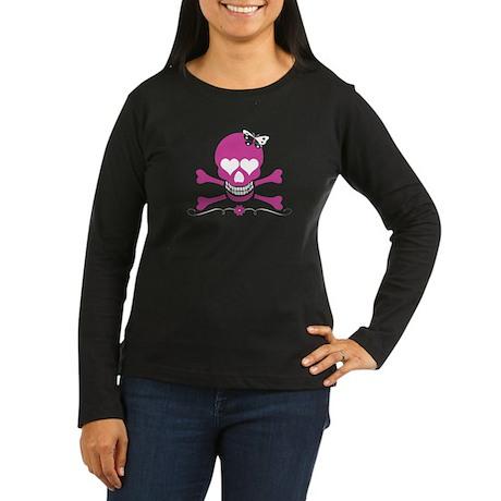 Skull & Butterfly Women's Long Sleeve Dark T-Shirt