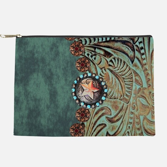 Country Western turquoise leather Makeup Pouch