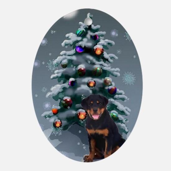 Rottweiler Christmas Ornament (Oval)