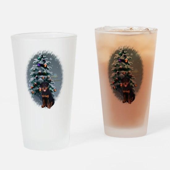 Rottweiler Christmas Drinking Glass