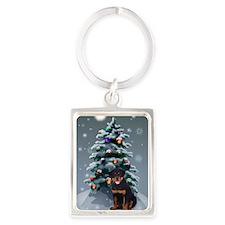 Rottweiler Christmas Portrait Keychain