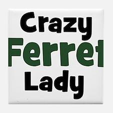 Crazy Ferret Lady Tile Coaster