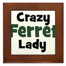 Crazy Ferret Lady Framed Tile