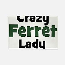 Crazy Ferret Lady Rectangle Magnet