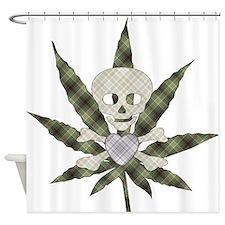 Plaid Marijuana Leaf Skull Shower Curtain