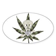 Plaid Marijuana Leaf Skull Decal