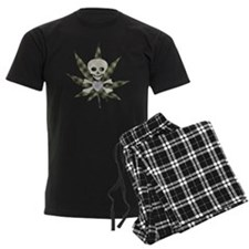 Plaid Marijuana Leaf Skull Pajamas