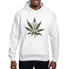 Plaid Marijuana Leaf Skull Hoodie