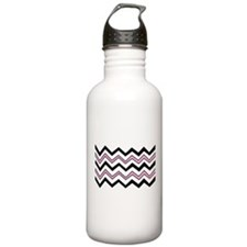 Black and Pink Chevron Water Bottle