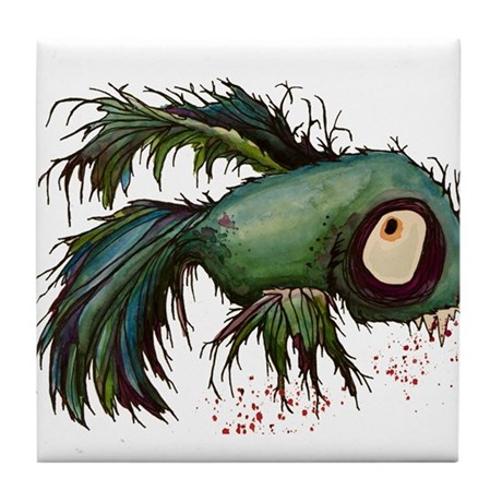 zombiefied betta fish Tile Coaster