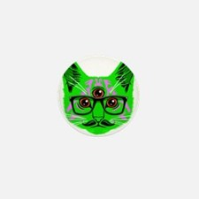 Psychedelic Trippy Cat Mini Button