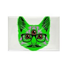 Psychedelic Trippy Cat Rectangle Magnet
