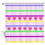 Colorful Hearts and Stripes Shower Curtain