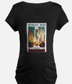 Vintage Chicago Worlds Fair B Maternity T-Shirt