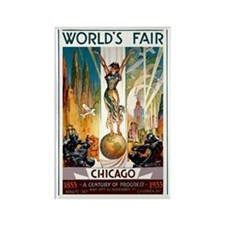 Vintage Chicago Worlds Fair B Rectangle Magnet