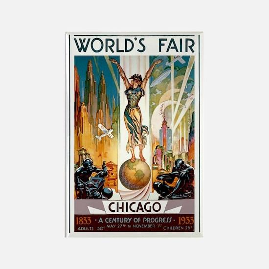 Vintage Chicago Worlds Fair B Rectangle Magnet