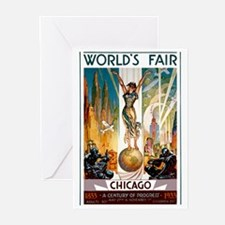 Vintage Chicago Worlds Fair B Greeting Cards (Pk o