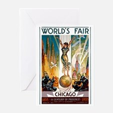 Vintage Chicago Worlds Fair B Greeting Card