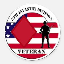 5th Infantry Division Veteran Round Car Magnet