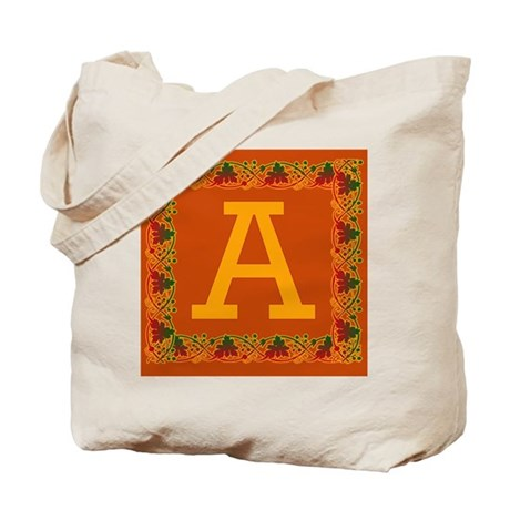 Autumn Colors and Fall Leaves Initial A Tote Bag