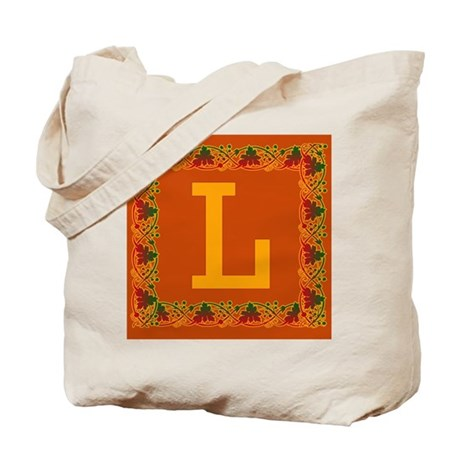 Autumn Colors and Fall Leaves Initial L Tote Bag