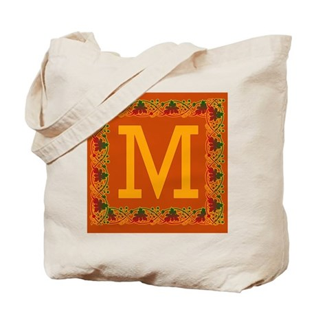 Autumn Colors and Fall Leaves Initial M Tote Bag
